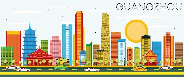 色の建物と青い空と広州のスカイライン。ベクトルイラスト。近代建築とビジネス旅行と観光の概念。プレゼンテーションバナープラカードとwebサイトの画像。