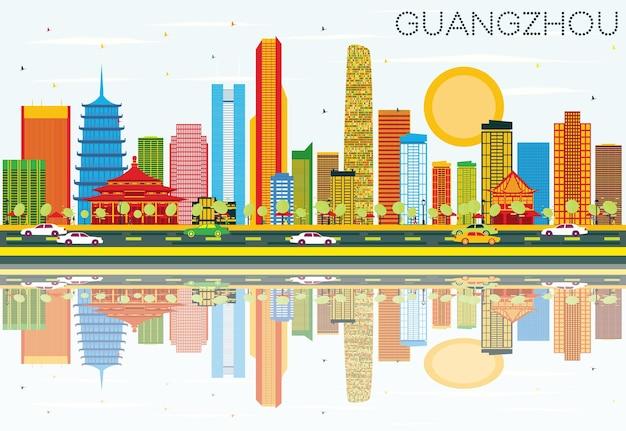 色の建物、青い空と反射のある広州のスカイライン。ベクトルイラスト。近代建築とビジネス旅行と観光の概念。プレゼンテーションバナープラカードとwebサイトの画像。