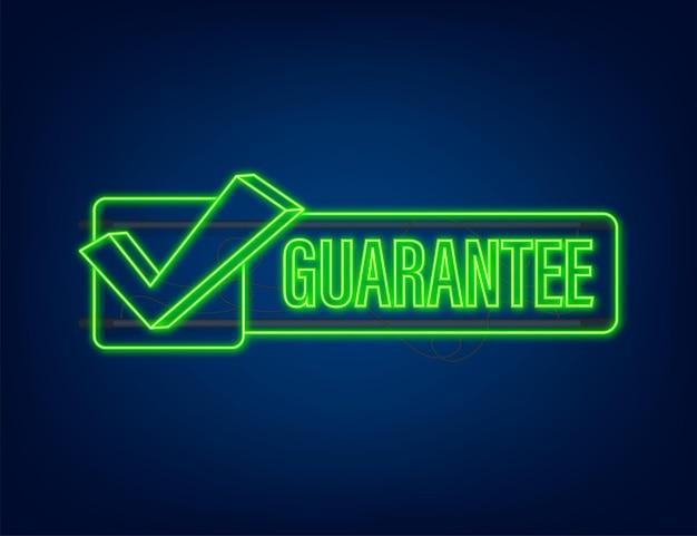 Guarantee neon vector isolated on dark background. vector stock illustration.