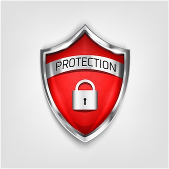 白い背景で隔離の盾アイコンを保証します。ウイルスからの保護3d赤い色