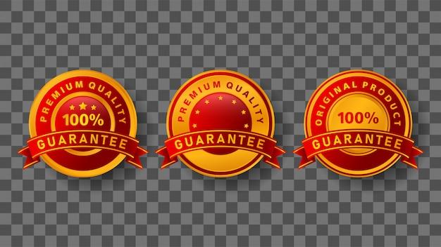 Гарантированный значок с элегантными золотыми и красными цветами