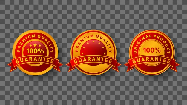 Guaranteed badge with elegant gold and red colors