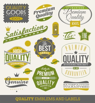 Guaranteed and quality - signs, emblems and labels. illustration.