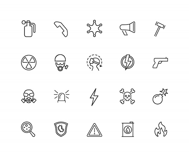 Guard icons. set of twenty line icons. bomb, radiation sign, fire.