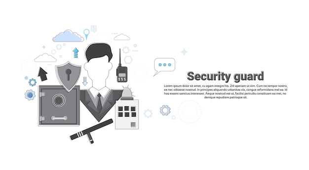 Guard security protection insurance web banner vector illustration