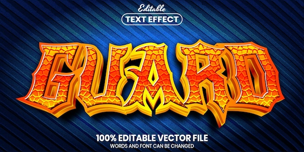 Guard text, font style editable text effect