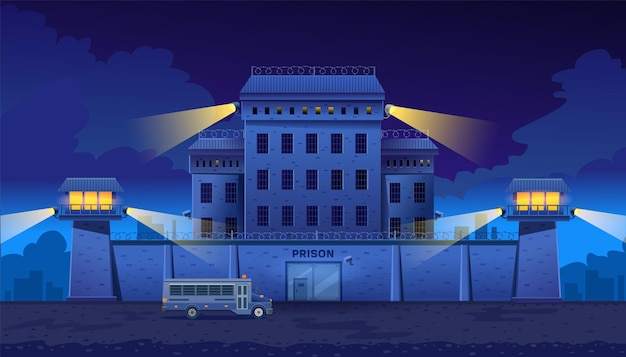 Guarded city prison building at night with two watchtowers on a high brick fence with barbed wire bus for transporting prisoners