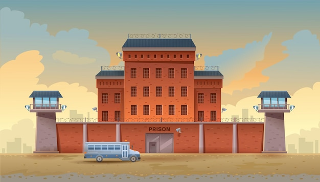 Guarded city prison building with two watchtowers on a high brick fence with barbed wire buses for transporting prisoners