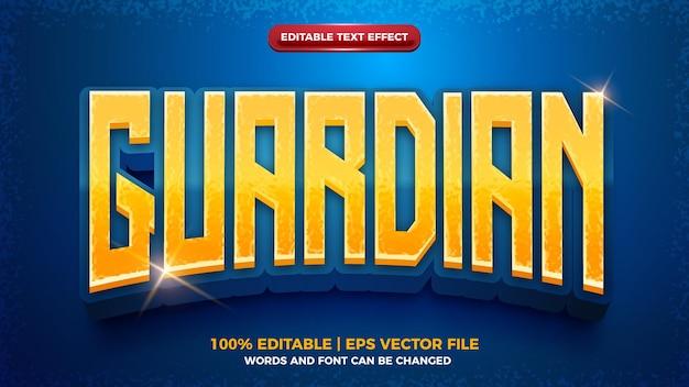 Guardian 3d cartoon game editable text effect