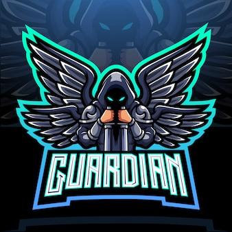Дизайн талисмана логотипа киберспорта ангела-хранителя.