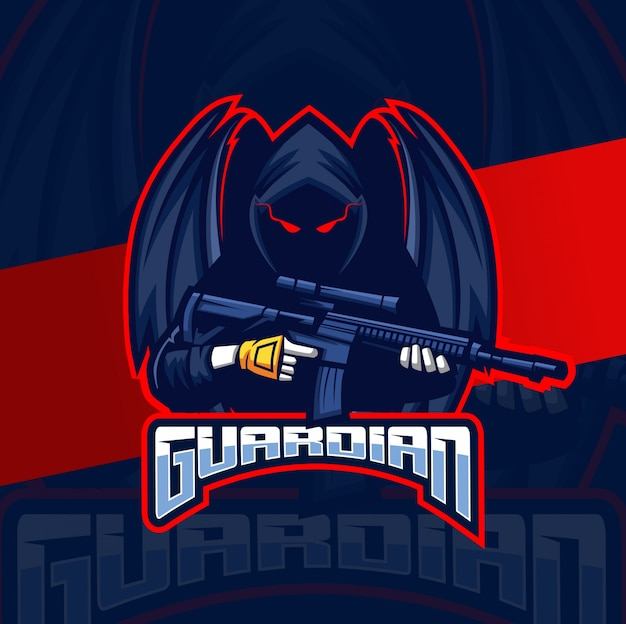 Опекун-убийца ангел талисман кибер спорт дизайн логотипа