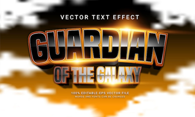 Guardian of the galaxy editable text style effect with gold color