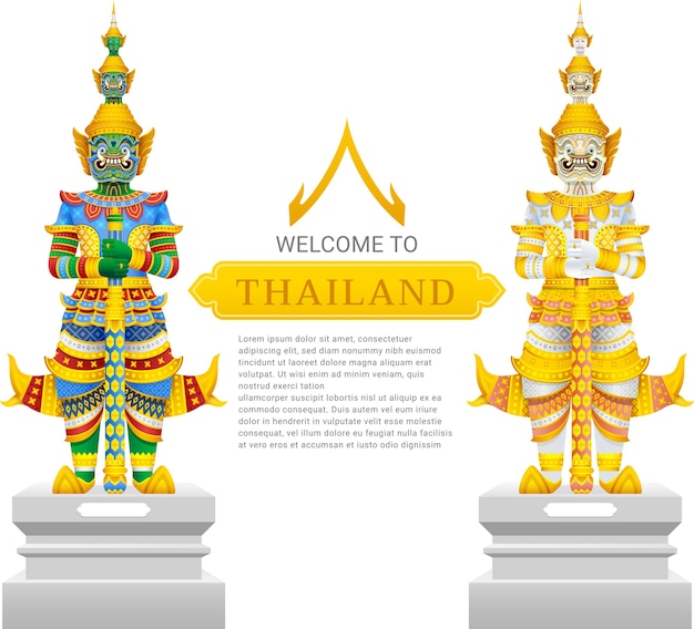 Guardian giant thailand travel and art background illustration