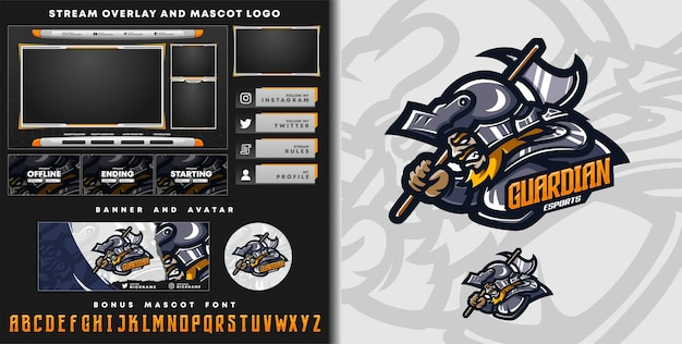 Guardian knight mascot logo and twitch overlay template