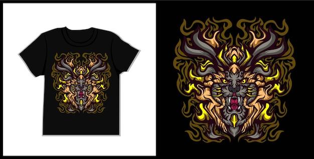 Guardian lion  tshirt illustration