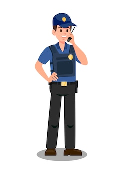 Guardian with walky talky cartoon vector character