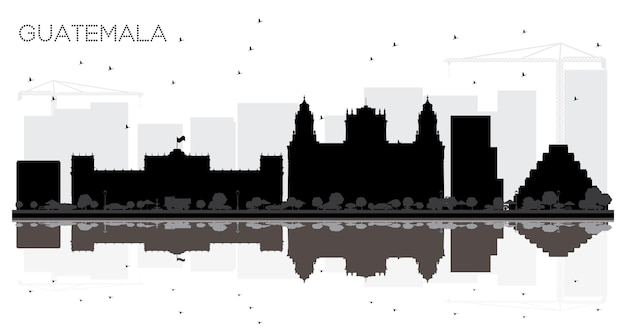 Guatemala city skyline black and white silhouette with reflections. vector illustration. simple flat concept for tourism presentation, banner, placard or web site. guatemala cityscape with landmarks.