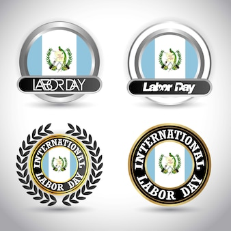 Guatemala flag with labour day design vector