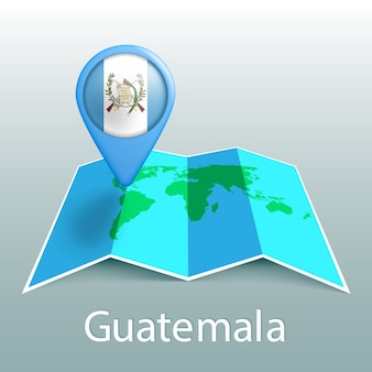 Guatemala flag world map in pin with name of country on gray background