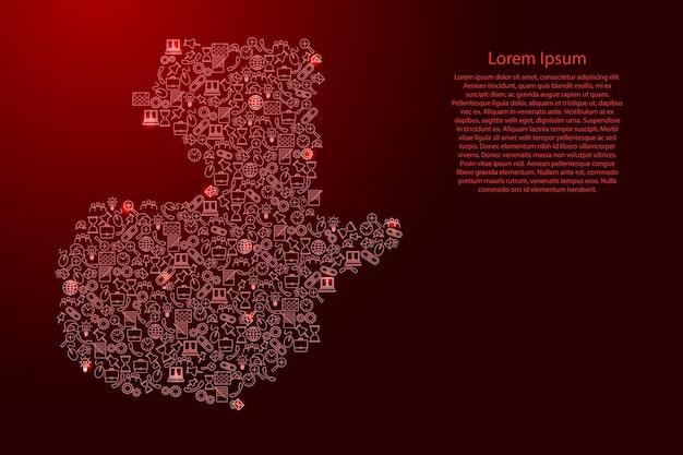 Seo分析の概念または開発、ビジネスの赤と光る星のアイコンパターンセットからグアテマラの地図。ベクトルイラスト。