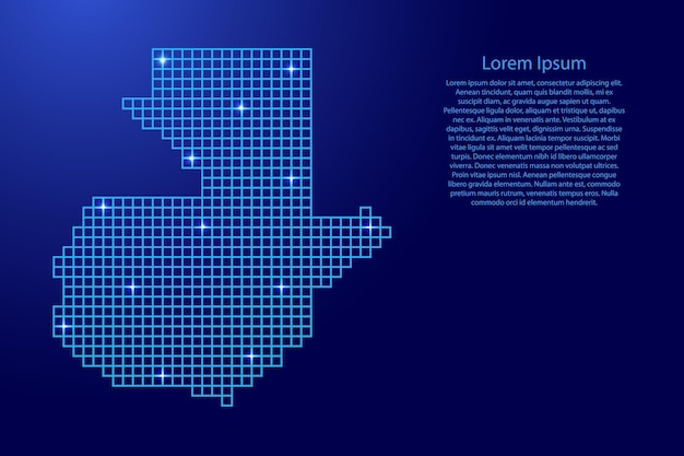 青いモザイク構造の正方形と輝く星からのグアテマラの地図のシルエット。ベクトルイラスト。
