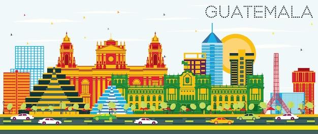 Гватемала на фоне линии горизонта с цветными зданиями и голубым небом. векторные иллюстрации. деловые поездки и концепция туризма с современной архитектурой. городской пейзаж гватемалы с достопримечательностями.