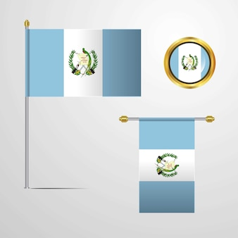 Guatemala waving flag design with badge vector