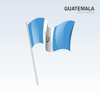 グレーに分離された旗を振っているグアテマラ