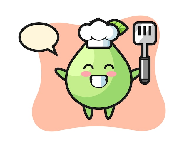 Guava character illustration as a chef is cooking, cute style  for t shirt, sticker, logo element