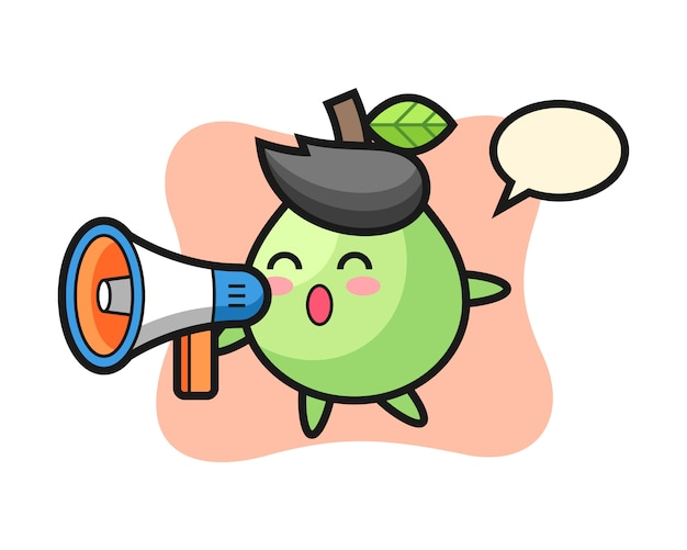 Guava character illustration holding a megaphone, cute style  for t shirt, sticker, logo element