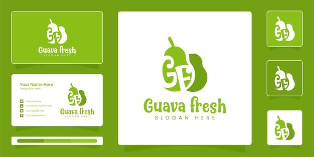 Логотип свежих фруктов гуавы фруктовый логотип с шаблоном дизайна векторной идентичности