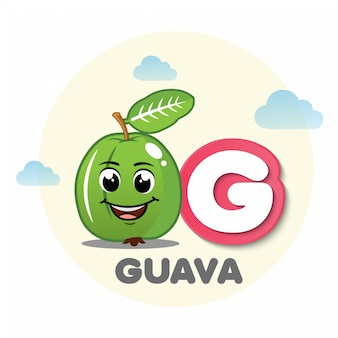 Guava mascot with letter g