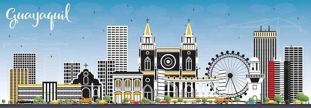 색상 건물과 푸른 하늘이 있는 과야킬 에콰도르 도시의 스카이라인. 벡터 일러스트 레이 션. 역사적인 건축과 비즈니스 여행 및 관광 개념입니다. 랜드마크가 있는 과야킬 도시 풍경.