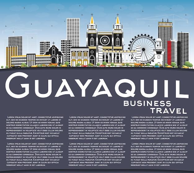 Горизонты города гуаякиль эквадор с цветными зданиями, голубым небом и копией пространства.