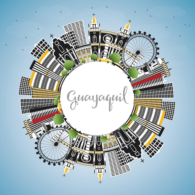 Guayaquil ecuador city skyline with color buildings, blue sky and copy space. vector illustration. business travel and tourism concept with historic architecture. guayaquil cityscape with landmarks.