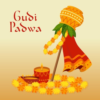 Gudi padwa banner in flat design