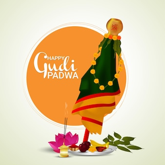 Gudi padwa celebration greeting card and background