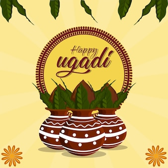 Gudi padwa creative realistic greeting card
