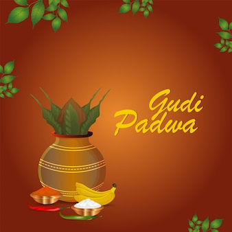 Gudi padwa creative traditional kalash with bamboo