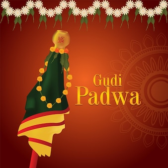 Gudi padwa greeting card traditional festival