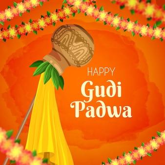 Gudi padwa in hand drawn