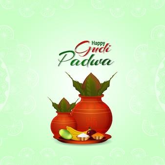 Gudi padwa indian hindu festival celebration greeting card