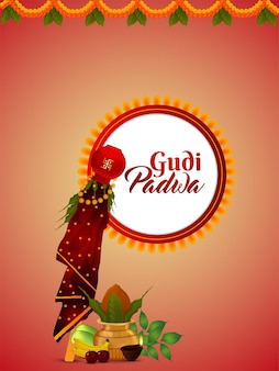 Gudi padwa vector illustration of kalash and background