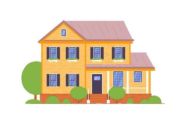 Гостевой дом. небольшой кирпичный двухэтажный гостевой дом с иконой террасы на белом фоне. подробная иллюстрация жилого помещения и жилого элемента