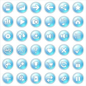Кнопка gui синий свет на белом.