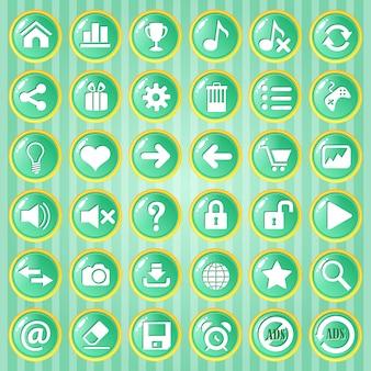 黄金の国境を持つgui buttonの緑色の円