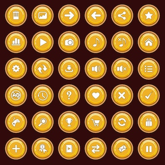 Gui buttons flat set color yellow and border color brown.
