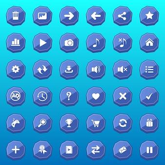 Плоский дизайн кнопок графического интерфейса пользователя роскошной формы для игр цвет синий.