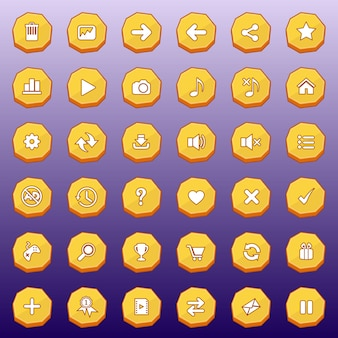 Gui buttons flat set design deluxe shape for games color yellow.