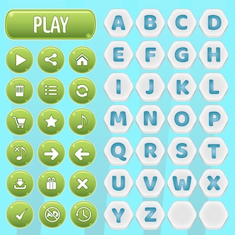 Gui buttons and hexagon a-z alphabet words game.